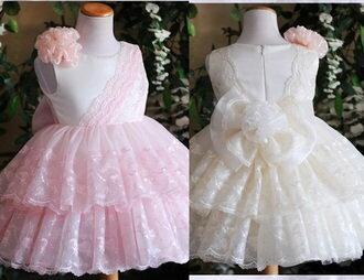 天使嫁衣:天使嫁衣【童S6022】粉色無袖蕾絲蛋糕層可愛花童短禮服˙現貨