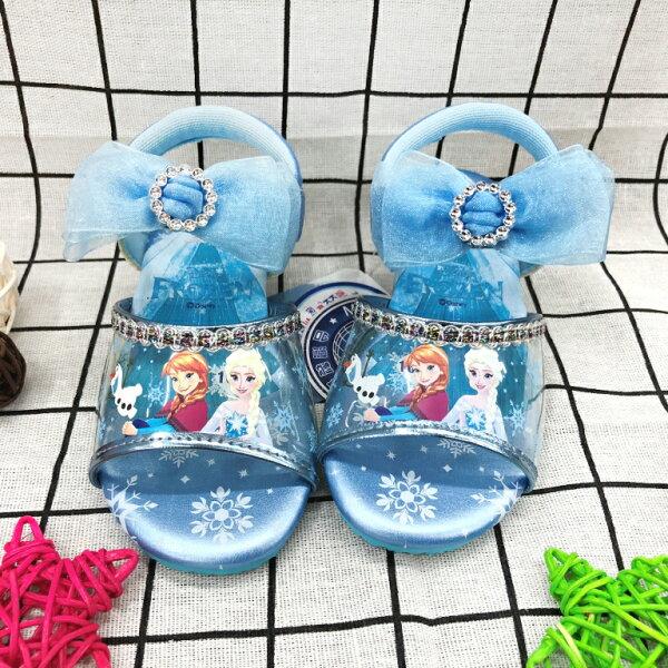 【巷子屋】冰雪奇緣-童款微跟休閒涼鞋[74126]藍MIT台灣製造超值價$200