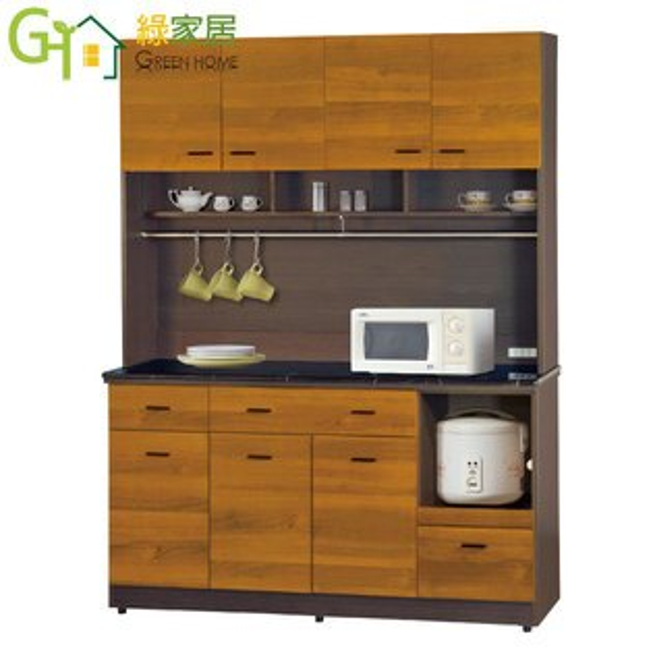 【綠家居】艾多奇時尚5尺雙色石面餐櫃收納櫃組合(二色可選+上+下座)
