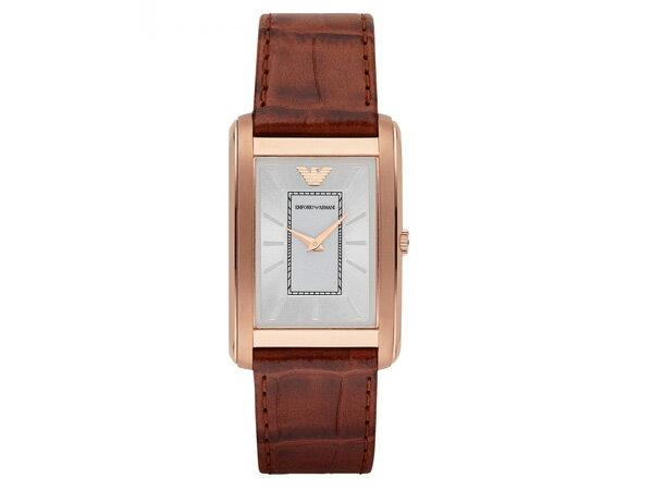 雅痞男子ARMANI亞曼尼低調玫瑰金高級真皮錶帶 亞曼尼質感方形錶型男最愛預購7天+現貨七天預購+現貨