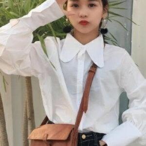 美麗大街~KB25~ 2017春裝 娃娃領條紋長袖襯衣女 寬鬆顯瘦燈籠袖上衣