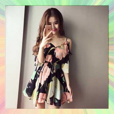 印花雪紡V型細肩荷葉花朵帶連身裙洋裝-S/M/L【AAA0469】