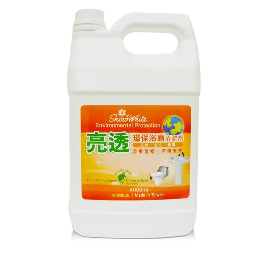 【白雪 snow white 浴廁清潔劑】亮透環保浴廁清潔劑 4000ml (4桶/箱)