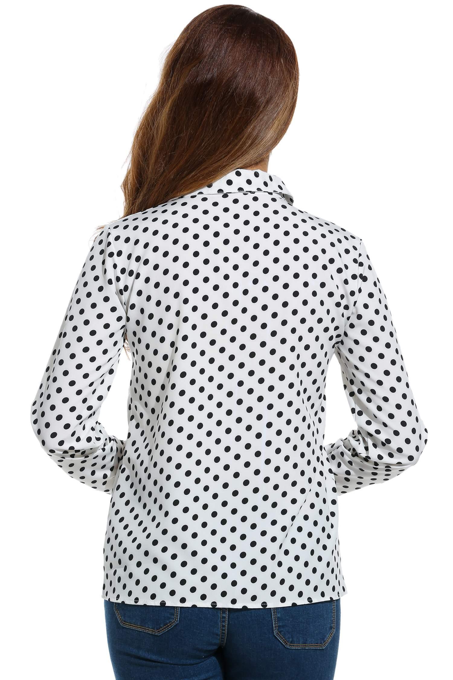 Women Long Sleeve Polka Dot Casual Loose Button Down Shirt 4