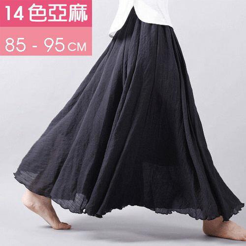長裙 亞麻棉裙14色 超大裙擺長裙-95CM【LAC1725-95】 BOBI 0