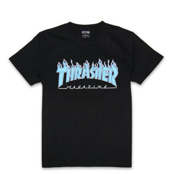 【EST】Thrasher日版OUTLINEFLAMELOGO藍字火焰短TEE黑[TH-0083-002]I0423
