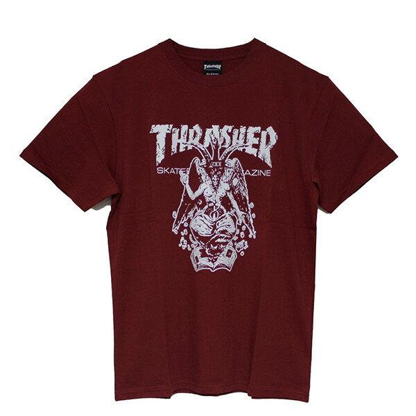 【EST】Thrasher日版BAPHOMETORIGINALSKATE羊角火焰短TEE酒紅[TH-0085-072]I0423