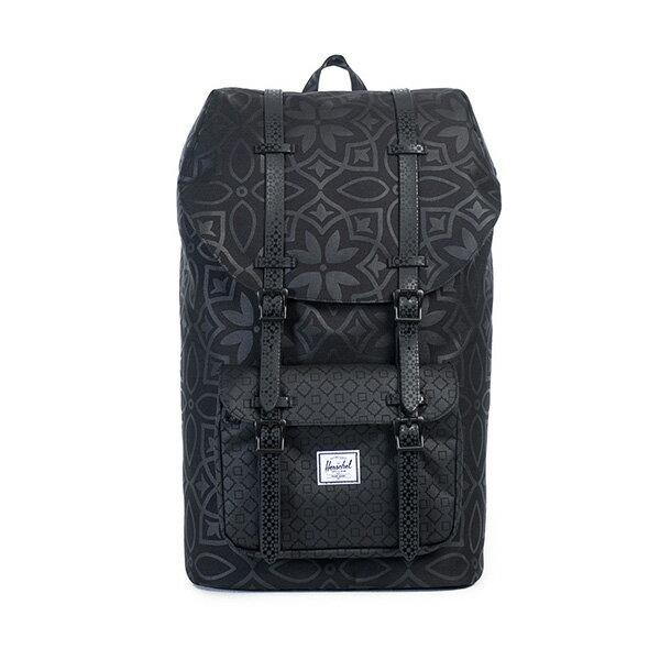 【EST】HERSCHEL LITTLE AMERICA 15吋電腦包 後背包 膠條 印花 黑 [HS-0014-922] G0122 0