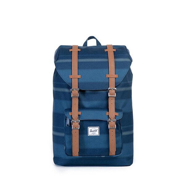 【EST】HERSCHEL LITTLE AMERICA MID 中款 13吋電腦包 後背包 條紋 藍 [HS-0020-925] G0122 0
