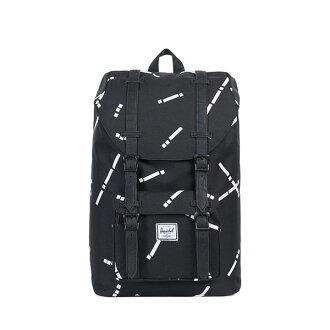 【EST】HERSCHEL LITTLE AMERICA MID 中款 13吋電腦包 後背包 線條 黑 [HS-0020-B44] G0801
