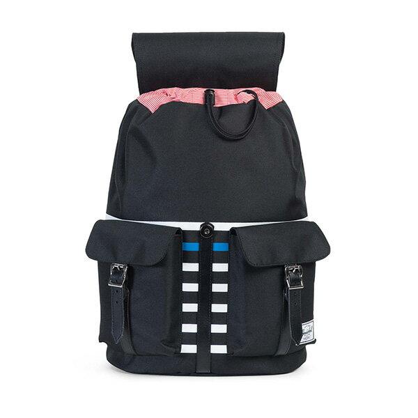 【EST】HERSCHEL DAWSON 束口 雙口袋 後背包 條紋 黑 [HS-0233-B73] G0801 1