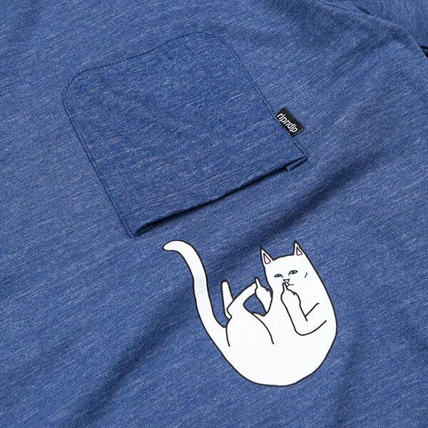 【EST】RIPNDIP FALLING FOR NERMAL 中指貓 墜落 口袋 短TEE 藍 [RD-0001-086] G0910 1