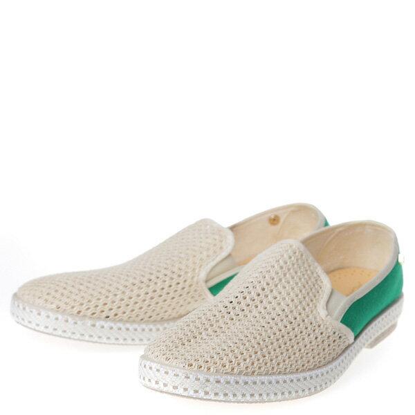 【EST】RIVIERAS 20度° 9207 半洞洞 拼接 懶人鞋 白綠 [RV-9207-001] F0406 1