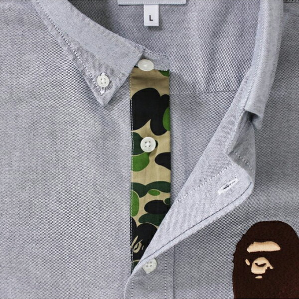 【EST O】A Bathing Ape Large Ape Head Oxford Bd Shirt 襯衫 灰 G0908 1
