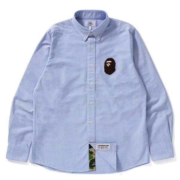 【EST O】A Bathing Ape Large Ape Head Oxford Bd Shirt 襯衫 藍 G0908
