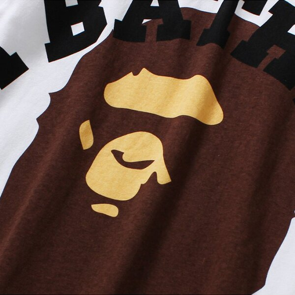 【EST O】A Bathing Ape Face Over College Tee 白 Ladies G0908 1