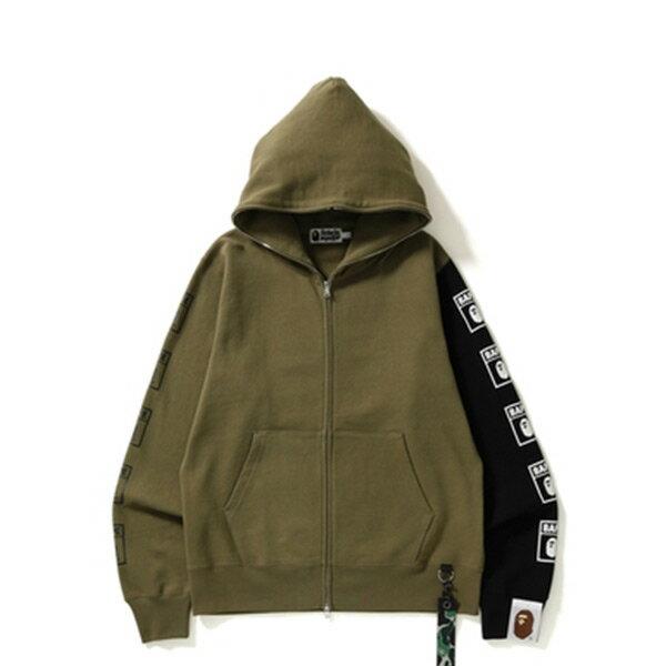 【ESTO】BapeFullZipHoodie拼接袖帽夾外套軍綠H1124