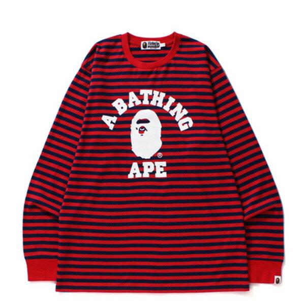 【ESTO】BapeCollegeHoopLongSleeveTee條紋長Tee紅藍H1124