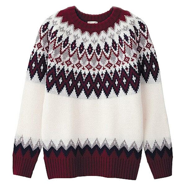 【EST O】Uniqlo × G.U. Gu [270463] 菱格 幾何 圖騰 針織 毛衣 白 F1125 - 限時優惠好康折扣