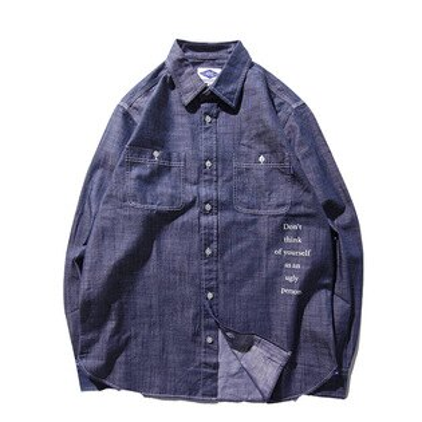 【ESTO】MadnessChambrayShirt余文樂丹寧牛仔襯衫藍H1123