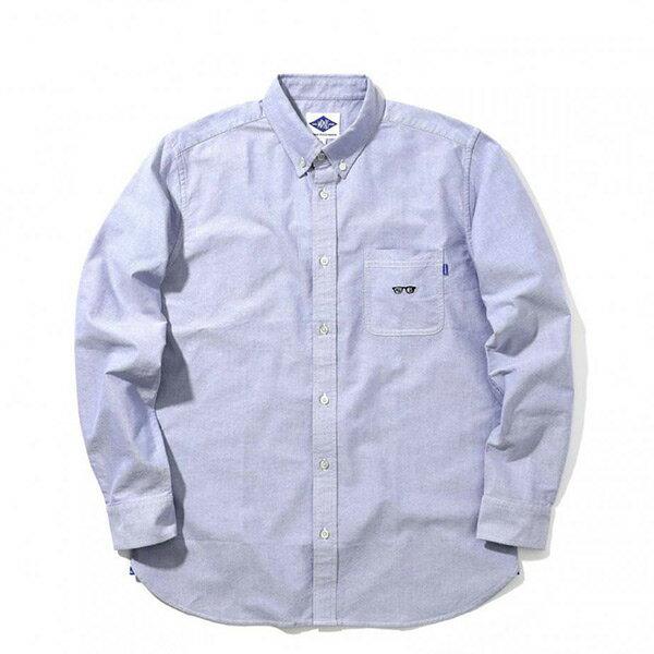 【ESTO】MadnessGotMyEyesOnYouOxfordShirt眼鏡長袖襯衫藍H1123