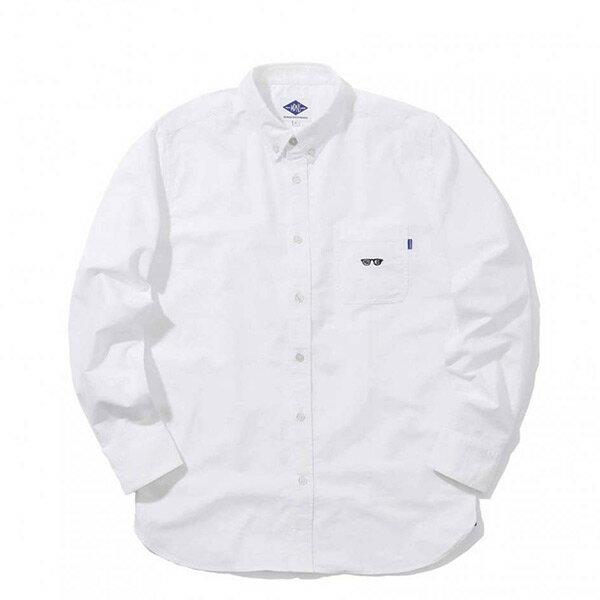 【ESTO】MadnessGotMyEyesOnYouOxfordShirt眼鏡長袖襯衫白H1123