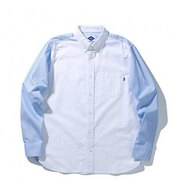 【ESTO】MadnessStripedPoplinShirt余文樂長袖襯衫條紋藍白H0830