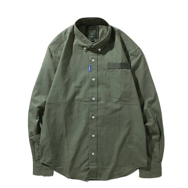 【ESTO】MadnessLogoShirt余文樂長袖襯衫軍綠H1123