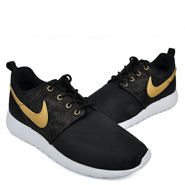 【EST S】Nike Rosherun One Gs Print 677782-010 白底黑金慢跑鞋 大童鞋 G1012 2