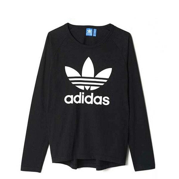 ~EST S~Adidas Trefoil Ls AY7801 三葉草 長Tee男款 黑白