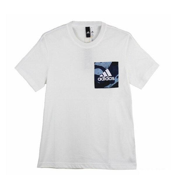 【EST S】Adidas Essentials Aop Tee B47352 口袋 印花 迷彩 短Tee 白 H0717