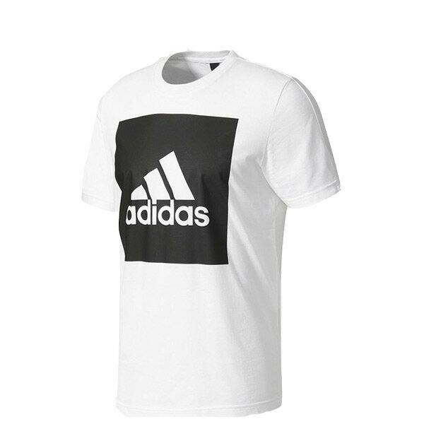 【EST S】Adidas Essentials Box Logo B47358 余文樂 短Tee 白黑 H0717