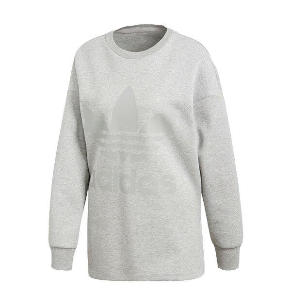 【ESTS】AdidasTrefoilSweaterCD6921寬版開叉長Tee大學T女款灰I0205