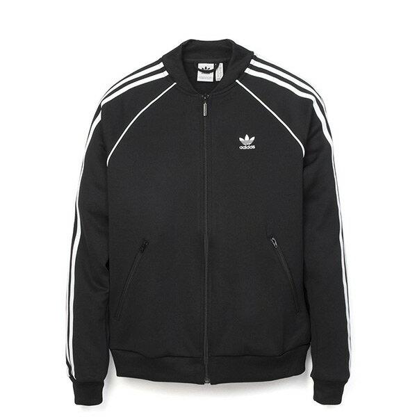【ESTS】AdidasTrackJacketCE2392白線條運動立領外套女款黑I0205