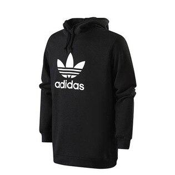 【ESTS】AdidasTrefoilHoodiesCW1240寬版長袖帽Tee男款黑I0118