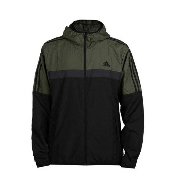 【ESTS】AdidasWBClassicDH3998拼接防風連帽風衣外套薄款男款黑綠I0820