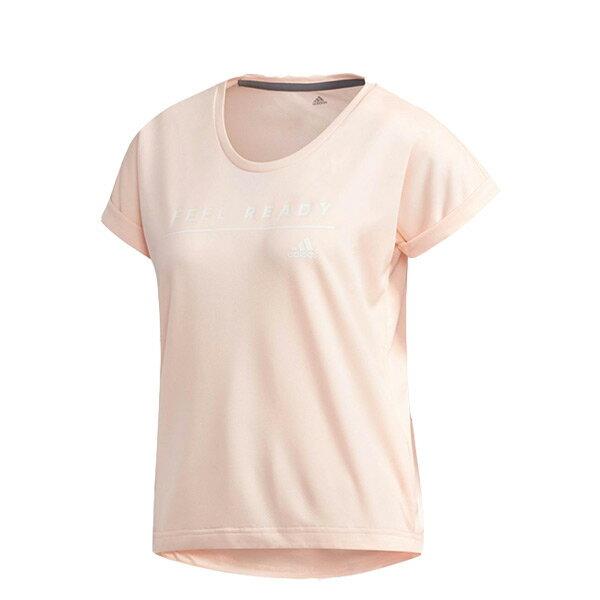 【ESTS】AdidasFeelReadyTeeDJ2976捲袖短袖上衣短Tee女款粉橘I0828