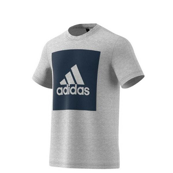 【EST S】Adidas Essentials Box Logo S98725 方塊 短Tee 灰藍 H0717