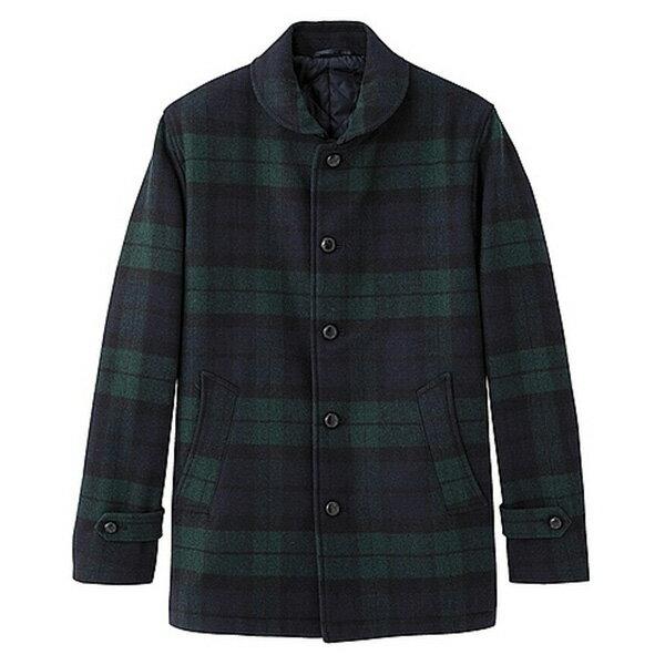 【EST O】Uniqlo × G.U. Gu 270618 披肩領 羊毛混紡 外套 大衣 格紋 F1027