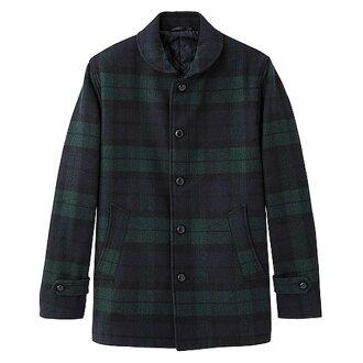 【EST O】UNIQLO × G.U. GU [270618002] 披肩領 羊毛混紡 外套 大衣 格紋 F1027