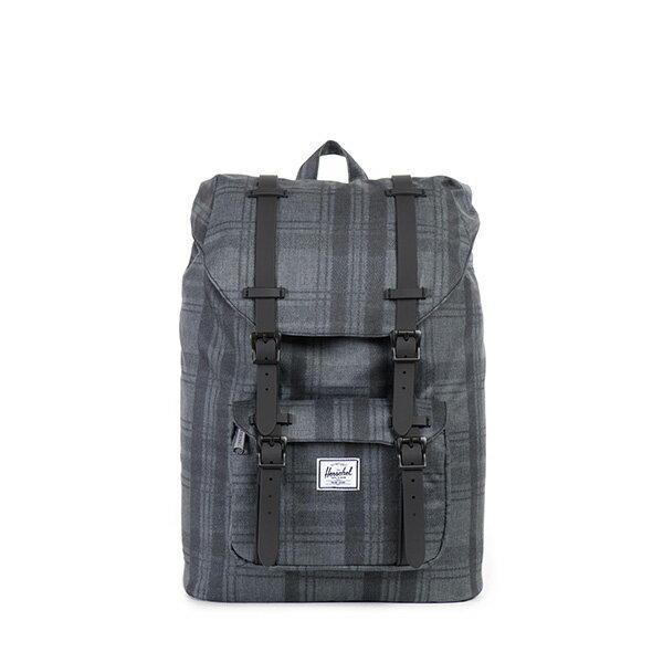 【EST】HERSCHEL LITTLE AMERICA MID 中款 13吋電腦包 後背包 格紋 黑 [HS-0020-754] F0810 0