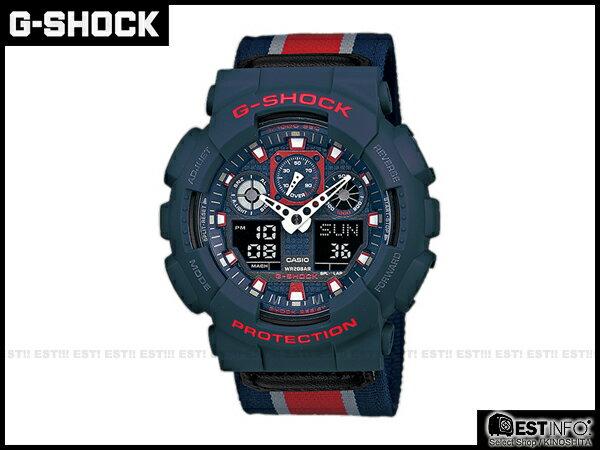【EST O】G-Shock Baby-G Casio GA-100 卡西歐 防水 大錶面 潮流 手錶 [GA-100MC-2A] 藍紅 E0221