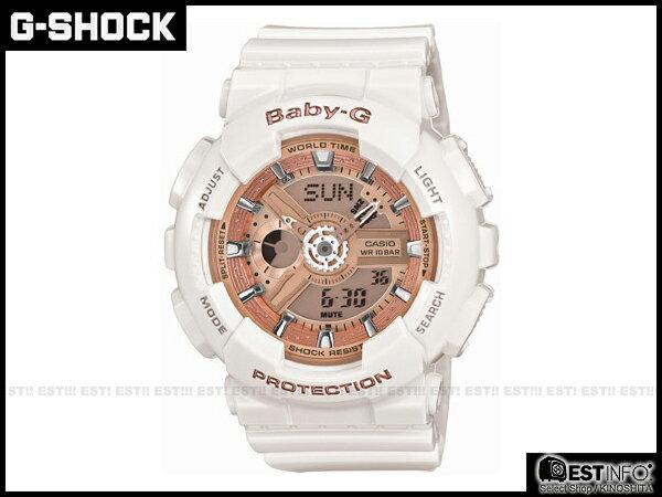 【EST O】G-Shock Baby-G BA 卡西歐 多層次 立體 錶盤 手錶 [BA-110-7A1JF] 白 玫瑰粉 D0925 - 限時優惠好康折扣