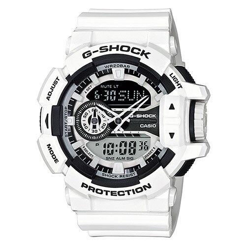 【EST O】G-Shock 雙顯 指針 潮流 白太極 男錶 手錶 [GA-400-7AJF] 白 F0327