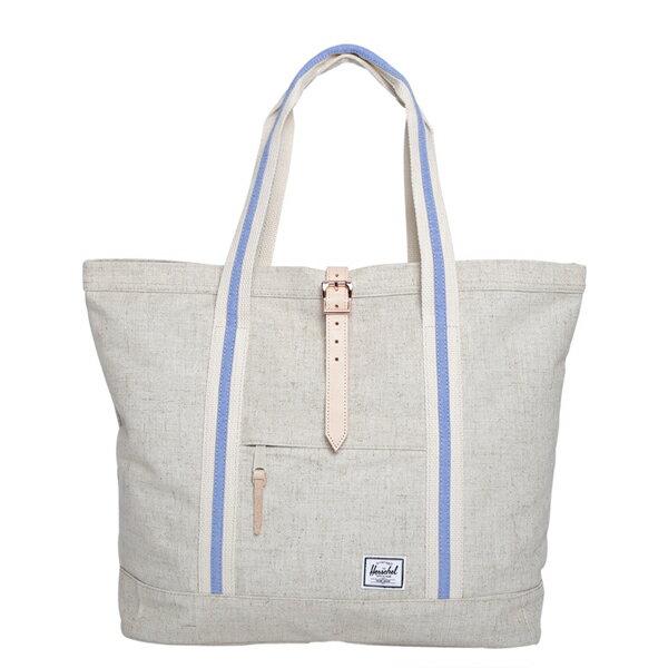 【EST】HERSCHEL MARKET XL 磁扣帶 托特包 購物袋 側背包 肩背包 麻紡 米白 [HS-0030-714] F0429