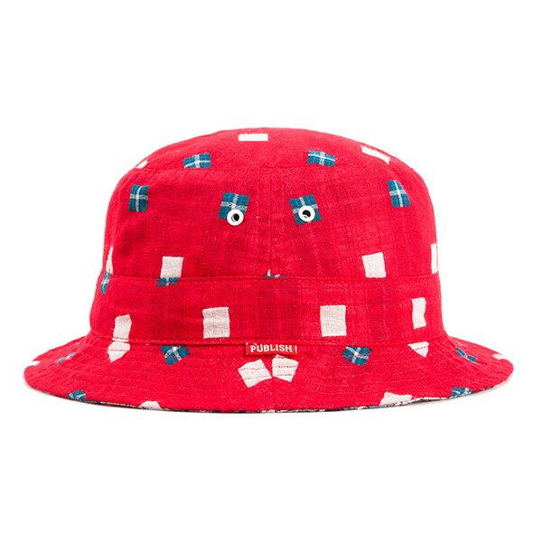 【EST】Publish Nicolo 拼接 格紋 雙面 漁夫帽 紅 [PL-5294-069] F0417 0