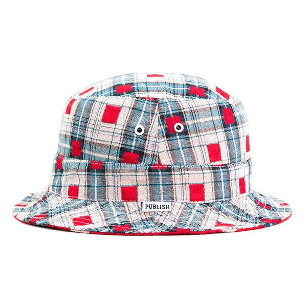 【EST】Publish Nicolo 拼接 格紋 雙面 漁夫帽 紅 [PL-5294-069] F0417 1