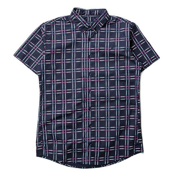 【EST】Publish Baclig 十字紋 格紋 短袖 襯衫 藍 [PL-5324-086] F0529 0