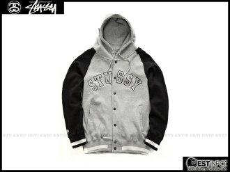 【EST】Stussy 2014 Fw 拼接袖 連帽 棒球 外套 灰/黑/深藍 [ST-5012-086] E1010