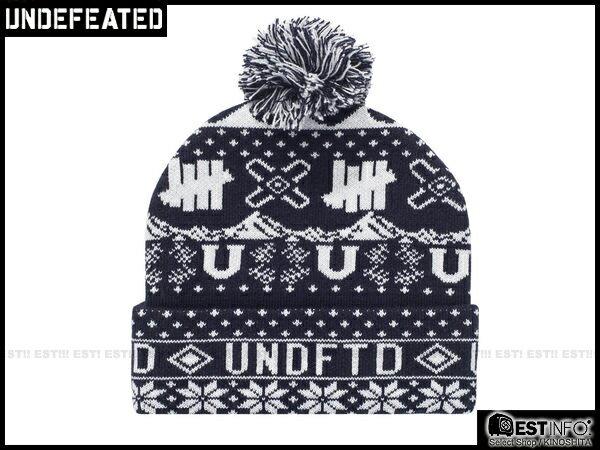 【EST】UNDEFEATED 2013 FW HOLIDAY ASCEDER POM-POM 民族 雪花 反折 針織 毛帽 [UF-4025] 黑/紅/深藍 E0114 0